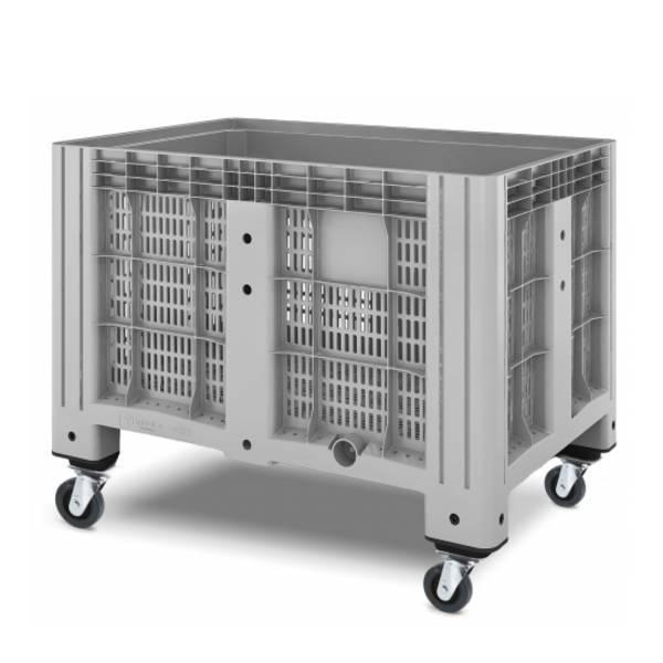 Перфорированный полимерный контейнер на колесах Ibox 1200х800 (серый)