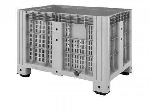 Перфорированный полимерный контейнер на 4-х ножках Ibox 1200х800 (серый)