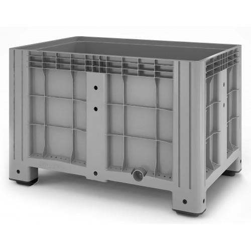"""Цельнолитой полимерный контейнер на ножках с краном 1"""" Ibox 1200х800 (серый)"""