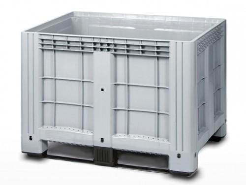 """Цельнолитой полимерный контейнер на полозьях с краном 1"""" Ibox 1200х800 (серый)"""