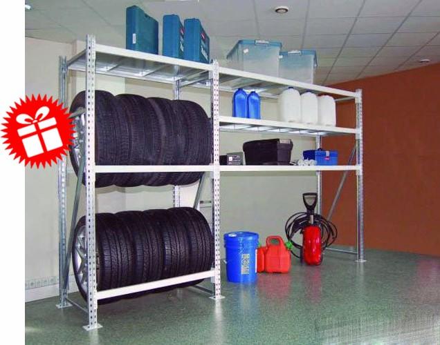 Стеллаж для гаража с отсеком для шин, 3 яруса, рама 2000 х 600мм