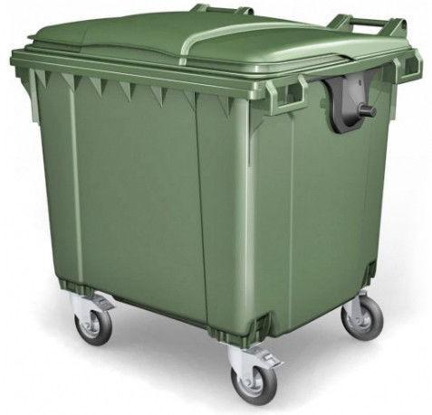 Передвижной мусорный евроконтейнер, внутренний объем 1100 л.