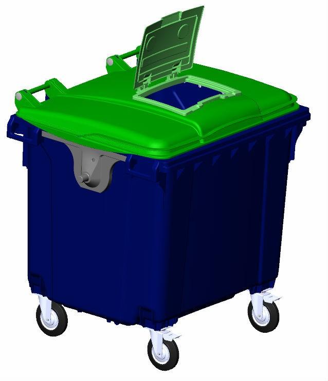 Передвижной мусорный контейнер с опцией «крышка в крышке», внутренний объем 1100 л.