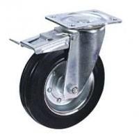 Колесные опоры промышленные усиленные поворотные с тормозом 90312501, D 125 мм.